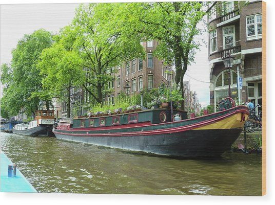 Canal Boats In Amsterdam - 2 Wood Print