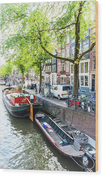 Canal Boats In Amsterdam Wood Print