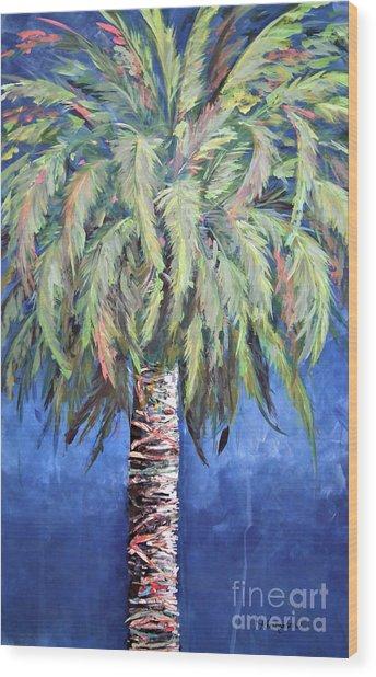 Canary Island Palm- Warm Blue I Wood Print
