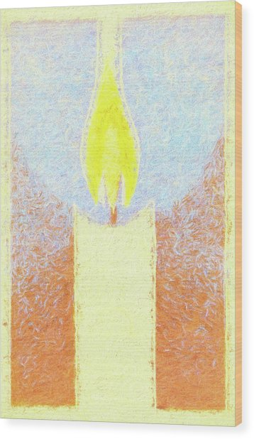 Candle Flame Pastel Wood Print