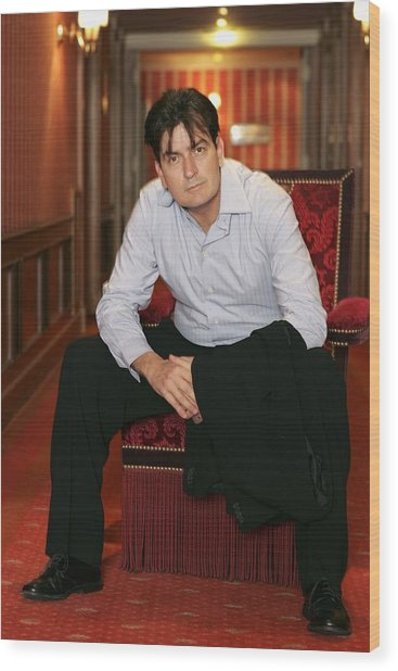 Cannes - Charlie Sheen - Portraits Wood Print