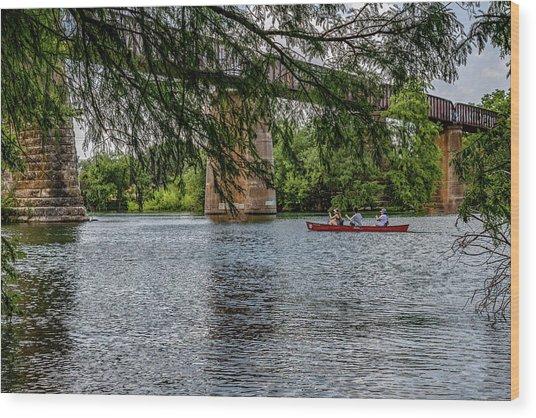 Canoeing Lady Bird Lake Wood Print