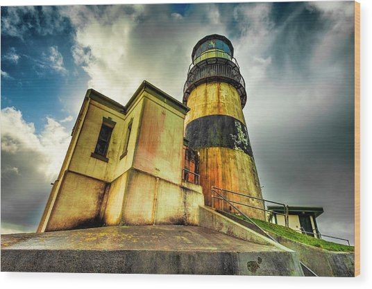Cape Disappointment Lighthouse Under Dramatic Skies Wood Print