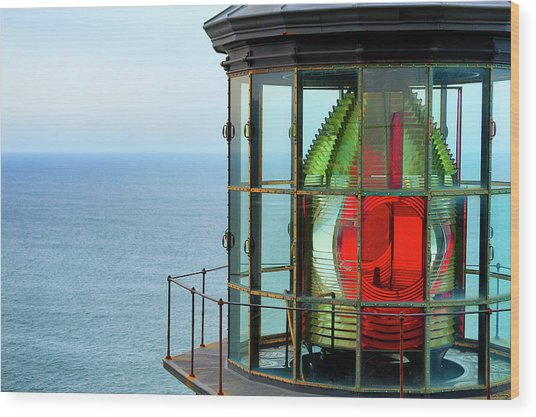 Wood Print featuring the photograph Cape Meares Beacon Light by Dee Browning
