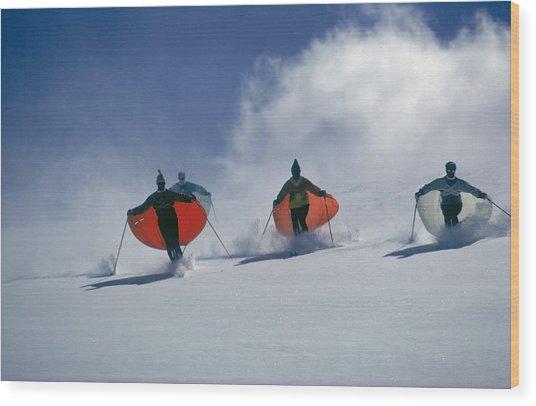 Caped Skiers Wood Print
