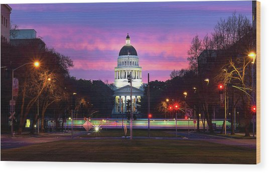 Capital Sunrise Wood Print