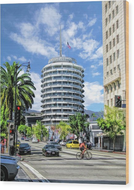 Capitol Records In Los Angeles Wood Print