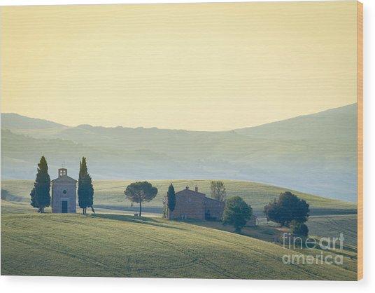 Cappella Di Vitaleta, Val Dorcia Wood Print by Frank Fischbach