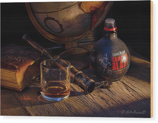Captain Morgan Wood Print
