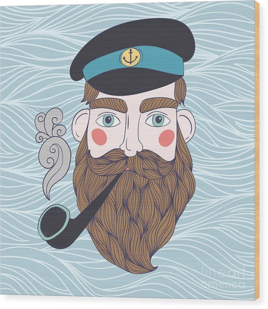 Captain With Pipe Vector Illustration Wood Print