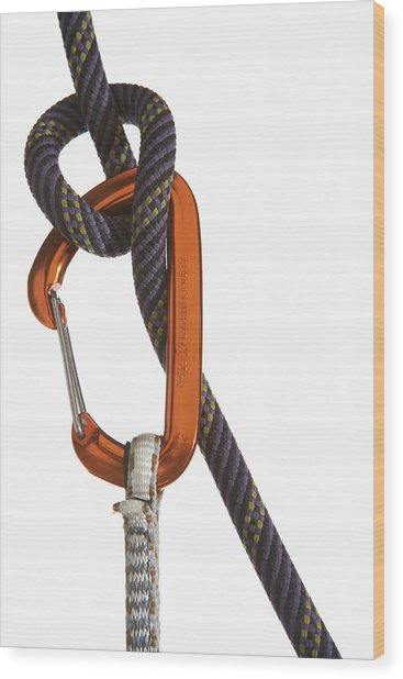 Carabiner Attached To Climbing Rope Wood Print