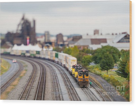 Cargo Train Photographed Using A Wood Print