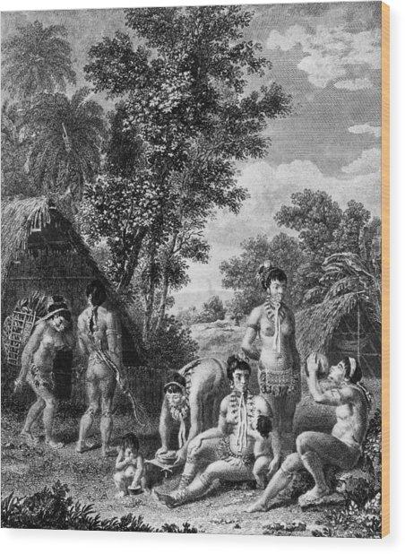 Carib Family Wood Print by Hulton Archive