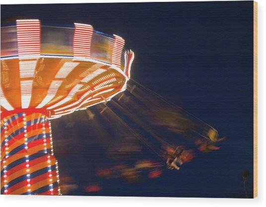 Carnival Ride Wood Print by By Ken Ilio