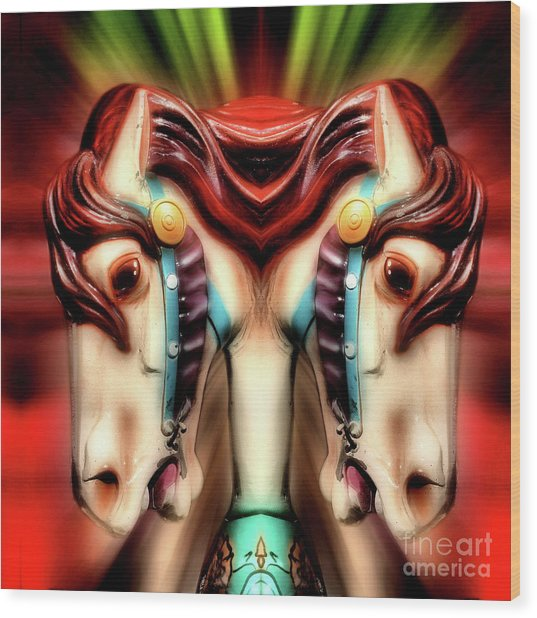 Carousel Horse Abstract Wood Print