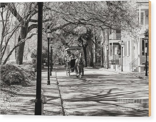 Carriage Ride Through Charleston Wood Print