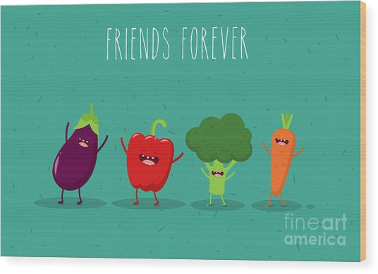 Carrot, Broccoli, Pepper, Eggplant Wood Print
