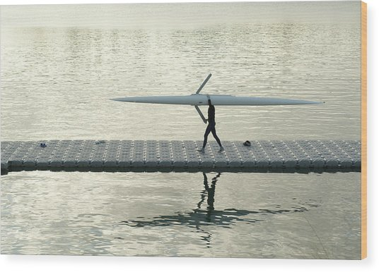 Carrying Single Scull Wood Print