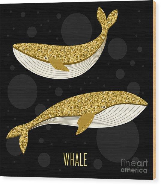 Cartoon Abstract Whale Set. Golden Wood Print