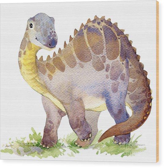 Cartoon Dinosaur Watercolor Wood Print