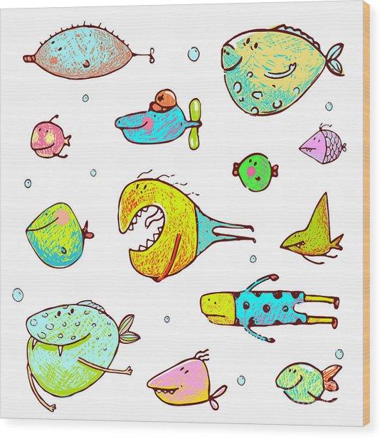 Cartoon Fun Humorous Fish Drawing Wood Print
