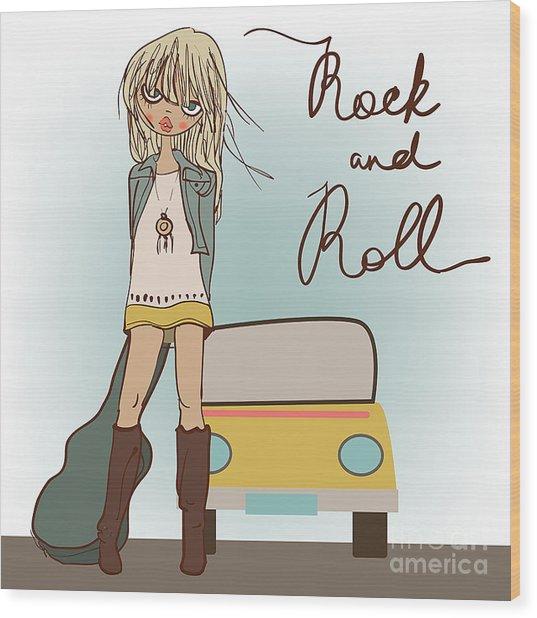 Cartoon Girl With Guitar Wood Print