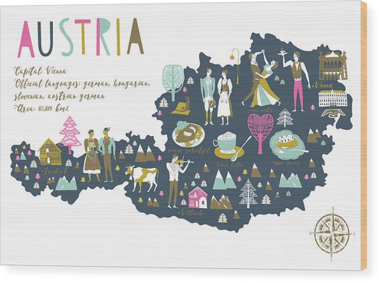 Cartoon Map Of Austria With Legend Icons Wood Print