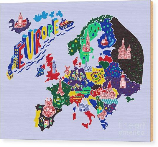 Cartoon  Map Of Europe. Travels Wood Print by Daria i