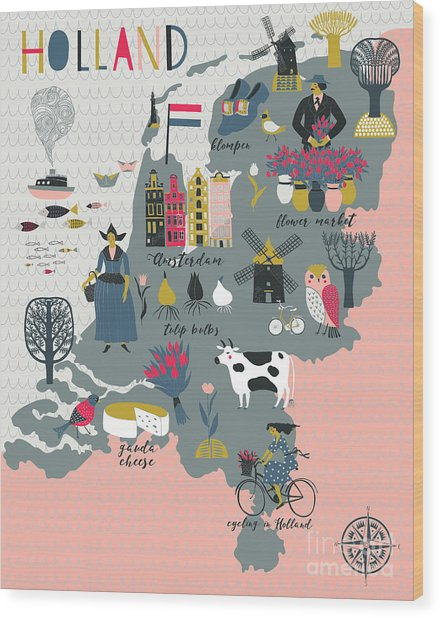 Cartoon Map Of Holland With Legend Icons Wood Print by Lavandaart