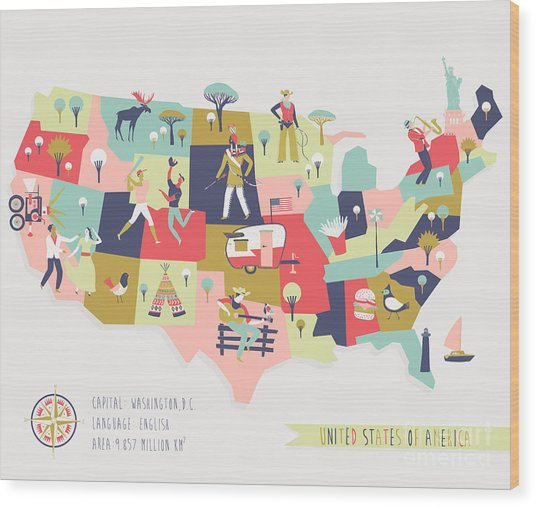 Cartoon Map Of Usa With Legend Icons Wood Print