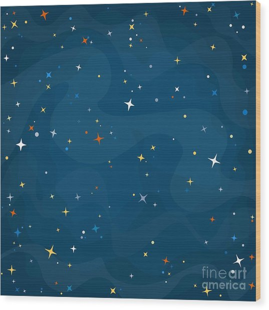 Cartoon Space Background With Colorful Wood Print