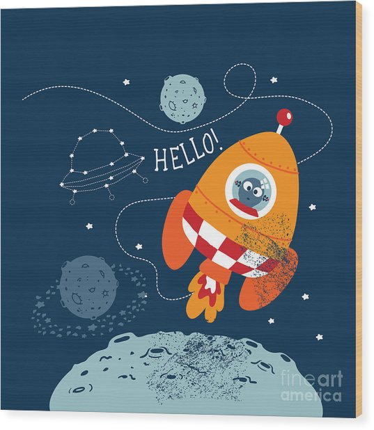 Cartoon Vector Illustration Of Space Wood Print