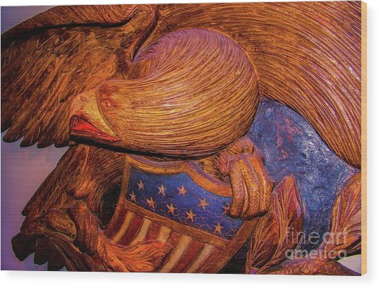 Carved Wood - Eagle Wood Print by D Davila
