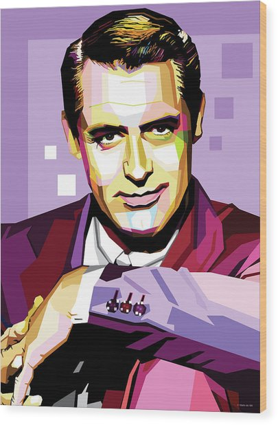 Cary Grant Pop Art Wood Print