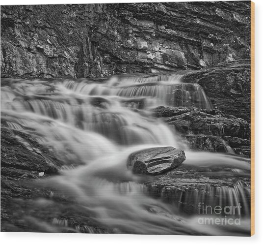Wood Print featuring the photograph Cascade 2 Bw by Patrick M Lynch