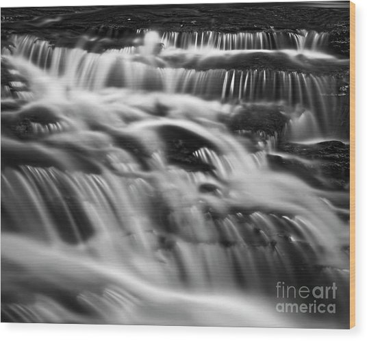 Wood Print featuring the photograph Cascade 5 Bw by Patrick M Lynch