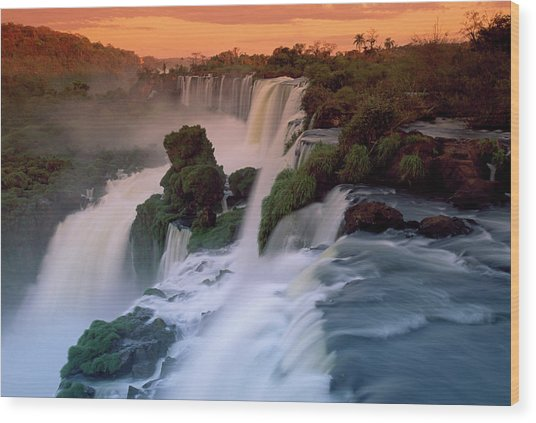 Cascades Of The Iguacu Falls, The Wood Print by Thomas Marent/ Minden Pictures