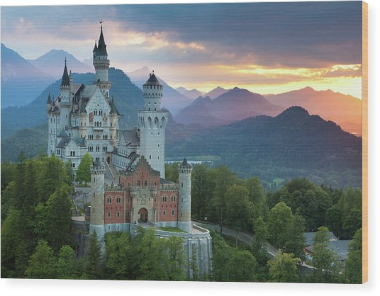 Castle Neuschwanstein With A Dramatic Wood Print