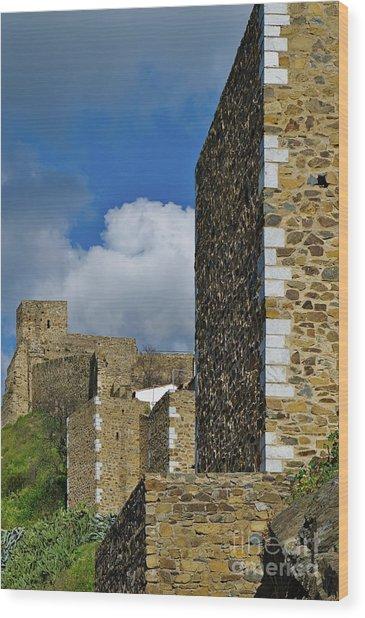 Castle Wall In Alentejo Portugal Wood Print