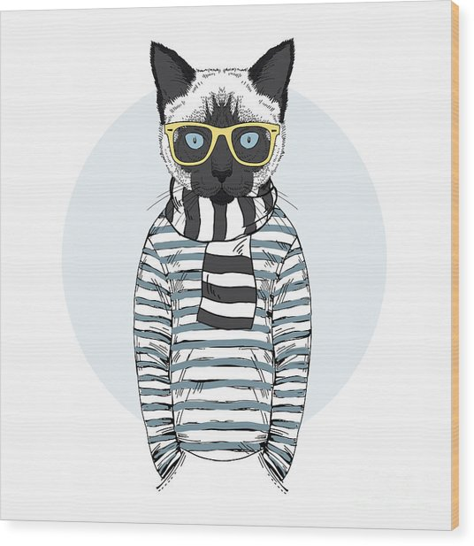 Cat Dressed Up In Frock, Furry Art Wood Print