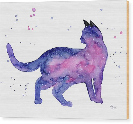 Cat In Space Wood Print