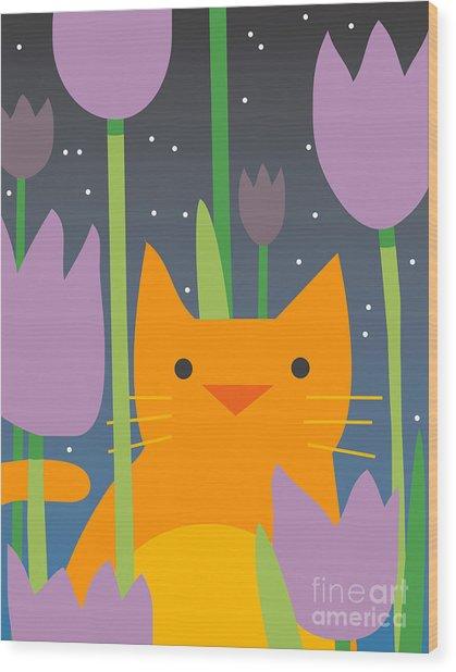 Cat Look 3 Wood Print