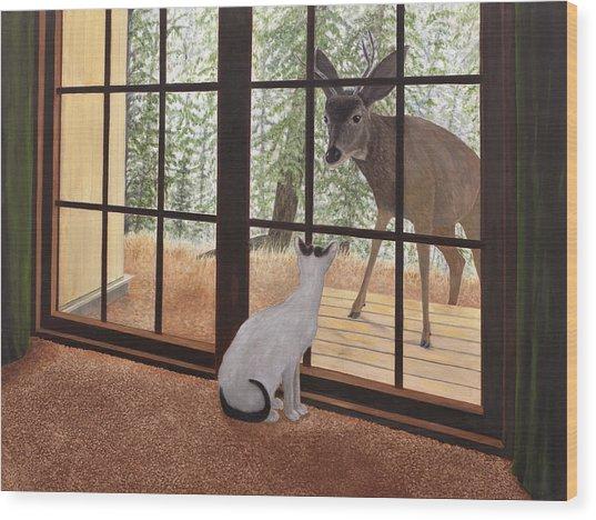 Cat Meets Deer Wood Print