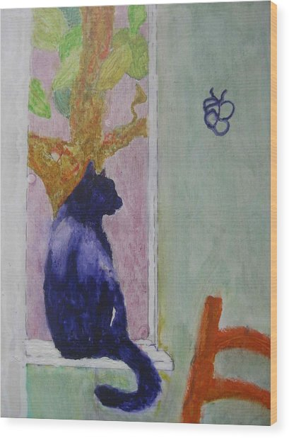 Wood Print featuring the painting cat named Seamus by AJ Brown