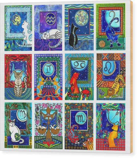 Cat Zodiac Paintings  Wood Print