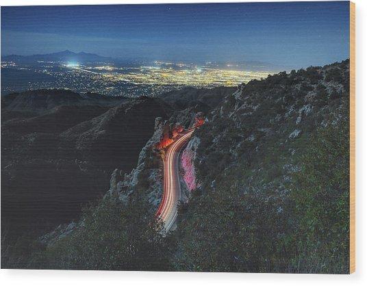 Catalina Highway Moonlight Wood Print