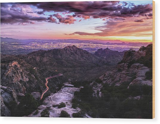 Catalina Highway Sunset And Tucson City Lights Wood Print