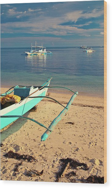Catamarans On Sea Wood Print by Flash Parker