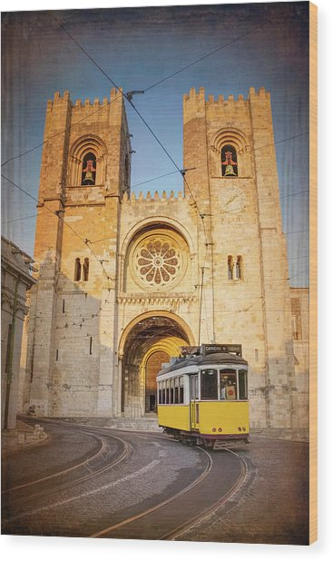 Cathedral And Yellow Tram Lisbon Portugal  Wood Print