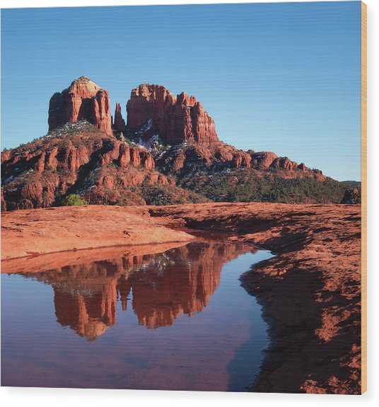 Cathedral Rock Reflection II Wood Print